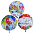 50pcs/lot 18'' balloon design Spanish birthday balloons round mylar helium ballon happy birthday party air globos baloes