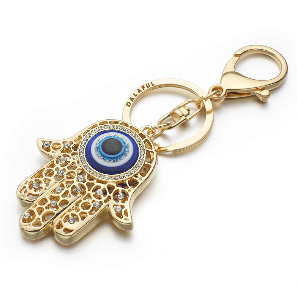Sorte Olhos Chaveiros Charme Amuleto Hamsa Fátima Mão Bolsa Saco Fivela Pingente Para Carro Chaveiros chaveiros titular mulheres K236
