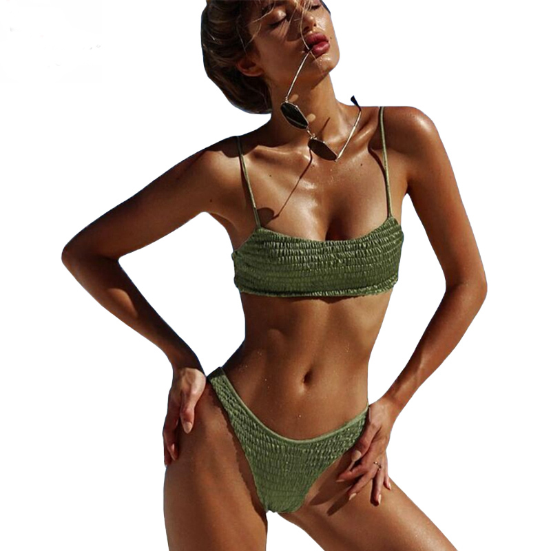 Biquini Bandeau Sexy Pleated Bikinis Women Swimsuit Swimwear Female Brazilian Push Up Bikini 2018 Set Beach Wear Bathing Suit