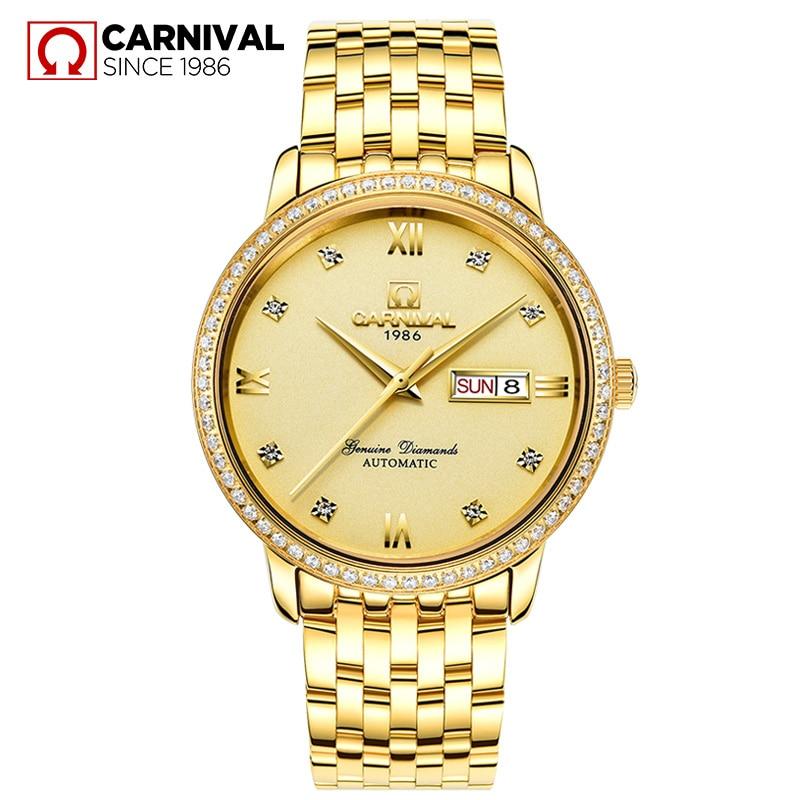 цена на 2017 New Luxury Business Watch Top Brand Carnival Automatic Mechanical Watch Men Watches Dual Calendar Sapphire 30m Waterproof