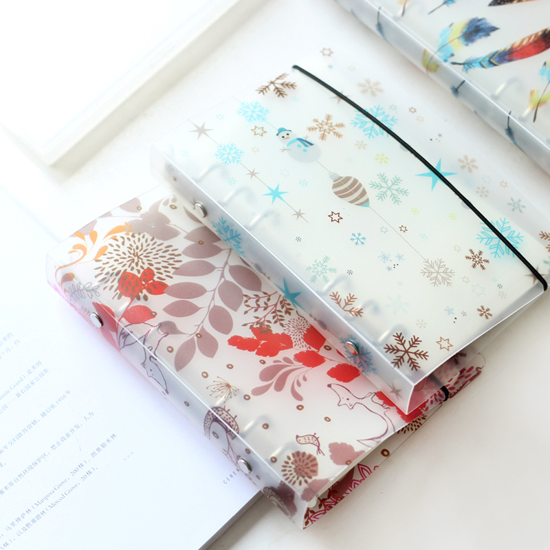 New Creative 6 Holes A5A6 PP Frosted Colored Printed Spiral Cover Of Notebook Cartoon Cute Planner Accessory Binder Shell Covers