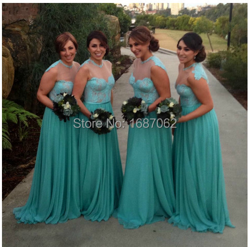 Turquoise Bridesmaid dresses High Neck Lace Cap Sleeves robe ...