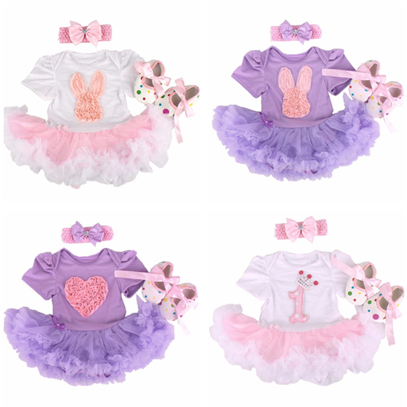 Newborn Bunny Baby Girl clothes Infant Clothing Outfits 2017 Romper Dress/Jumpsuit+Headband+Shoes Infant 1st birthday outfits 2017 new adorable summer games infant newborn baby boy girl romper jumpsuit outfits clothes clothing