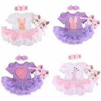 Pasgeboren Bunny Baby Meisje kleding Baby Kleding Outfits 2017 Romper Jurk/Jumpsuit + Hoofdband + Schoenen Baby 1st verjaardag outfits