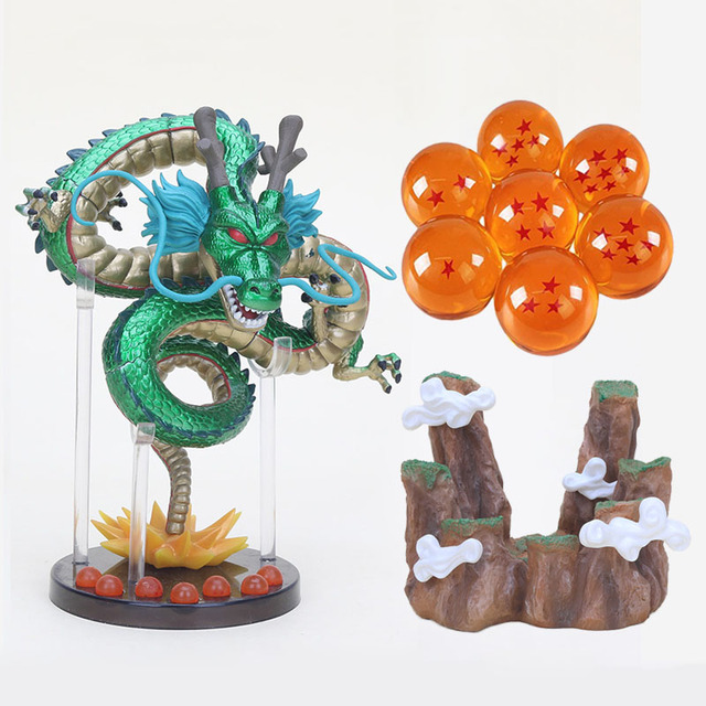 Anime Dragon Ball Figuras 7 Estrelas Bolas De Cristal com Prateleira Conjunto DBZ Dragonball Shenron Figura Collectible Modelo Boneca Brinquedos
