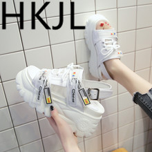 HKJL Fashion 2019 summer new thick-soled high rise platform with sandals, fish mouth and one-button Roman womens shoes A397