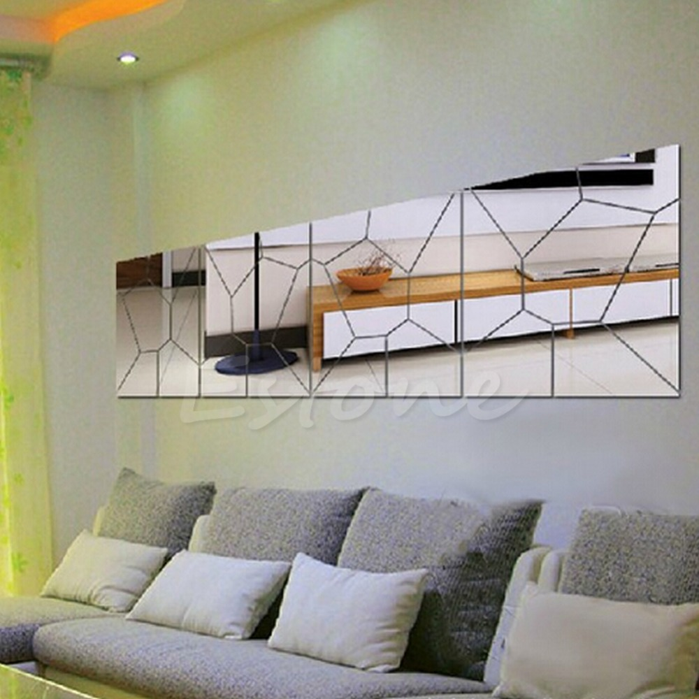 online buy wholesale silver wall decor from china silver wall mirror removable moire pattern decal art mural wallsticker home diy wall decor silver new xq drop