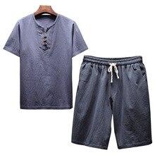 2019 Summer Mens Linen O-Neck Short sleeve t shirt&ampDrawstring shorts Sets Men Sportsuits Casual M-