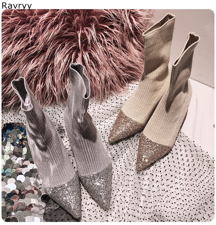 Elastic Knitting Womens short boots pointed toe twinkling female ankle boots thin heel autumn winter fashion party dress shoesElastic Knitting Womens short boots pointed toe twinkling female ankle boots thin heel autumn winter fashion party dress shoes