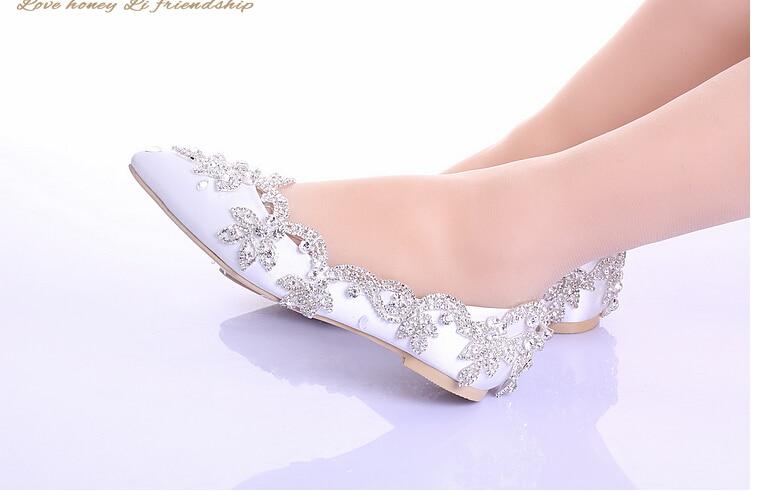caliente! 2015 nueva boda blanco zapatos sin tacones con los