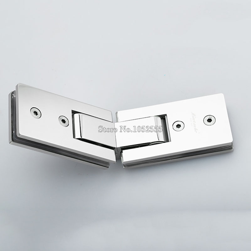 High Quality Stainless Steel Frameless Glass Door Hinges 135 Degree Glass to Glass Shower Door Hinge Glass Clamps 2pcs wall to glass door hinge stainless steel cabinet glass hinges clamp fit 8 10mm glass door pivot hinge clamps for shower