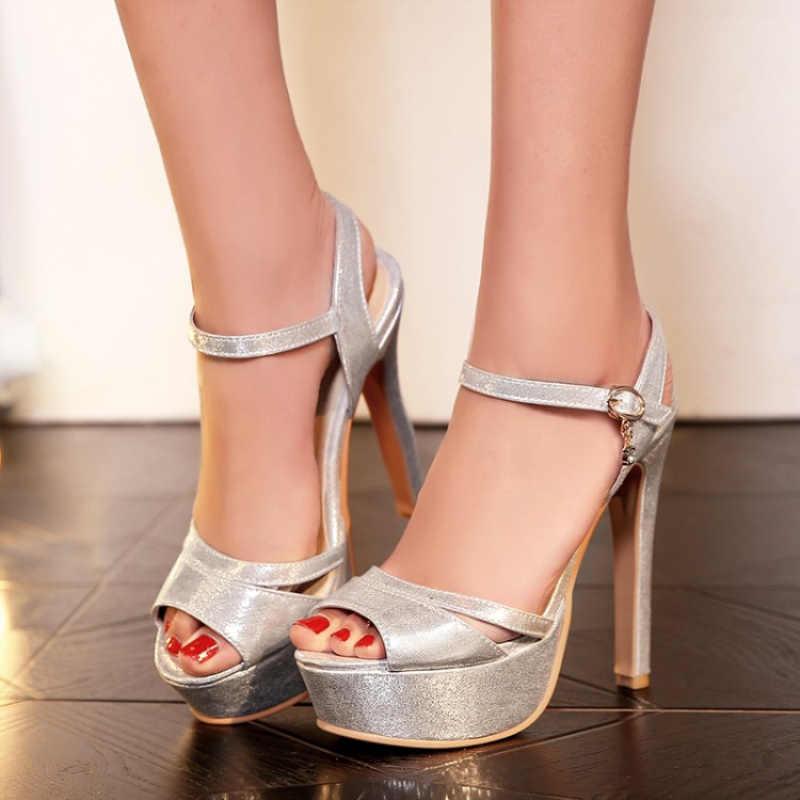 Big Size 48 Zomer Mode Vrouwen Sandalen Sexy Hoge Hak Gladiator Sandalen Platform Goud Zilver Luxe Partij Bruiloft Schoenen Vrouw