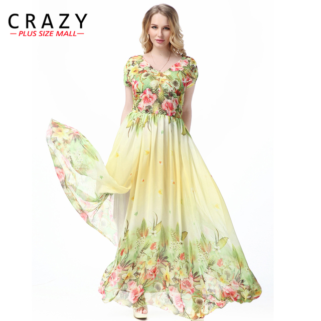 6691a3ca1b14 Large Size L-7XL Bohemian Style Summer Dress 2018 Plus Size Sexy V-neck  Elegant Beach Maxi Dresses for Vacation 7XL 6XL 5XL 4XL