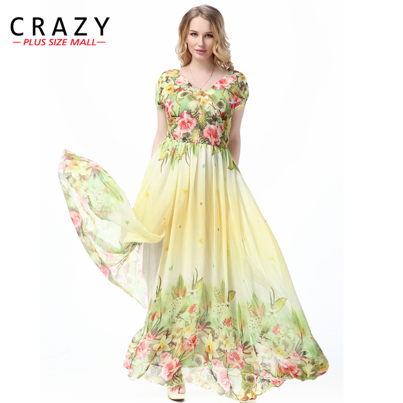 Large Size L-7XL Bohemian Style Summer Dress 2019 Plus Size Sexy V-neck Elegant Beach Maxi Dresses for Vacation 7XL 6XL 5XL 4XL image