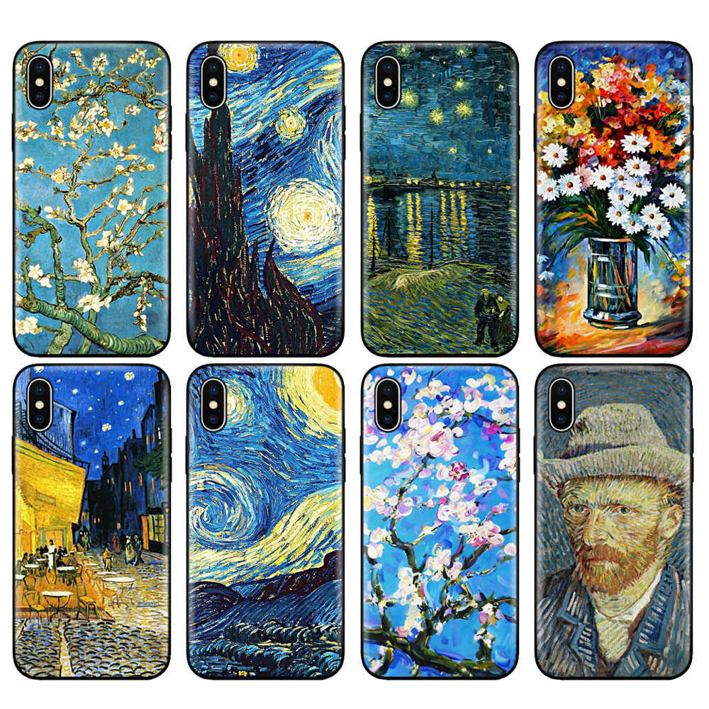 Zwart tpu case voor iphone 5 5s se 6 6s 7 8 plus x 10 siliconen cover voor iphone XR XS 11 pro MAX case sterrennacht Van Van Gogh boot