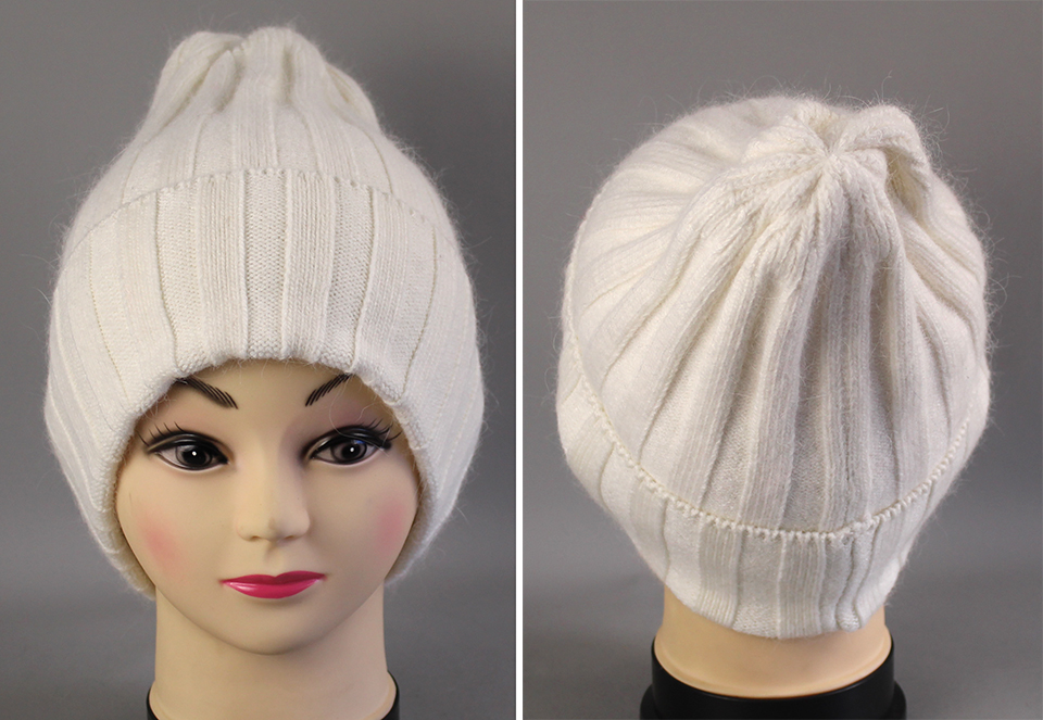 Thick Winter Hats For Women angora Beanies Hat knitted wool warm Beanie With Back Opening 2018 New (6)