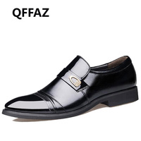 QFFAZ New Spring Fashion Oxford Business Men Shoes Genuine Leather High Quality Soft Casual Breathable Men