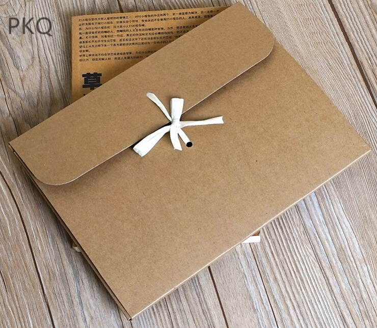 10pcs Lot Large Kraft Paper Box With Ribbon For Silk Scarf Packaging