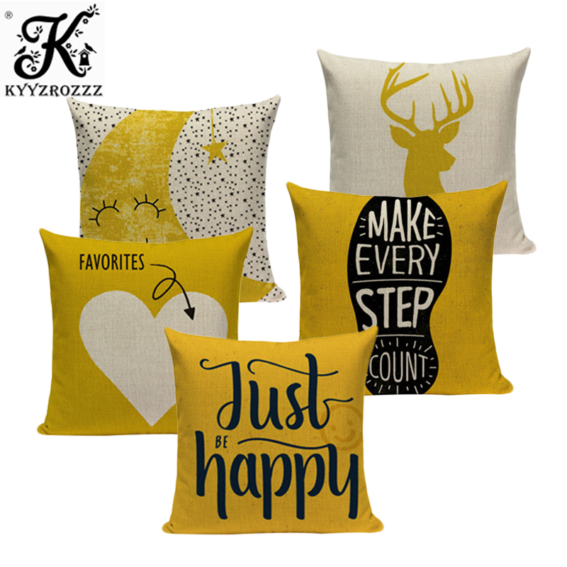 Mustard Yellow Cushion Cover 45*45 Cushions Home Cafe Decor Custom Pillow Cover Alphabet Style Outdoor Cushions Dropshipping