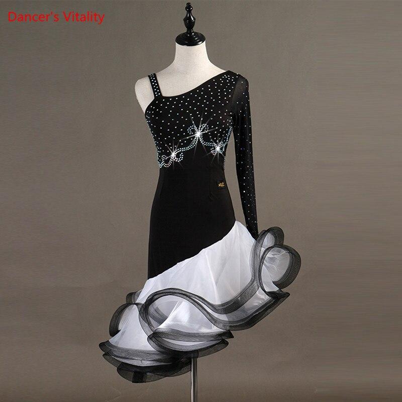 Professional Women Latin Dance Dress Single Sleeve Fishbone Dresses Lady Girls Latin Ballroom Dance Stage Performance Costumes