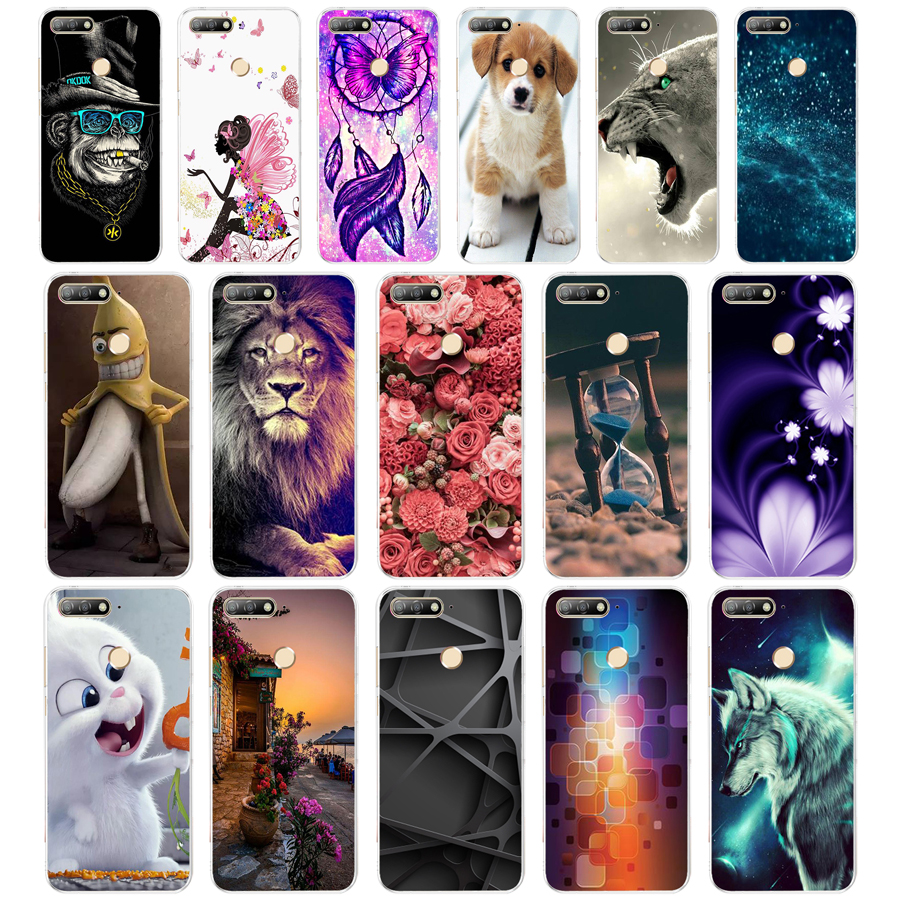 12Silicon case for huawei Y6 Prime 2018 case Super cat Painting Soft TPU Back Cover for huawei Y6 Prime 2018 full 360 shockproof hoodie