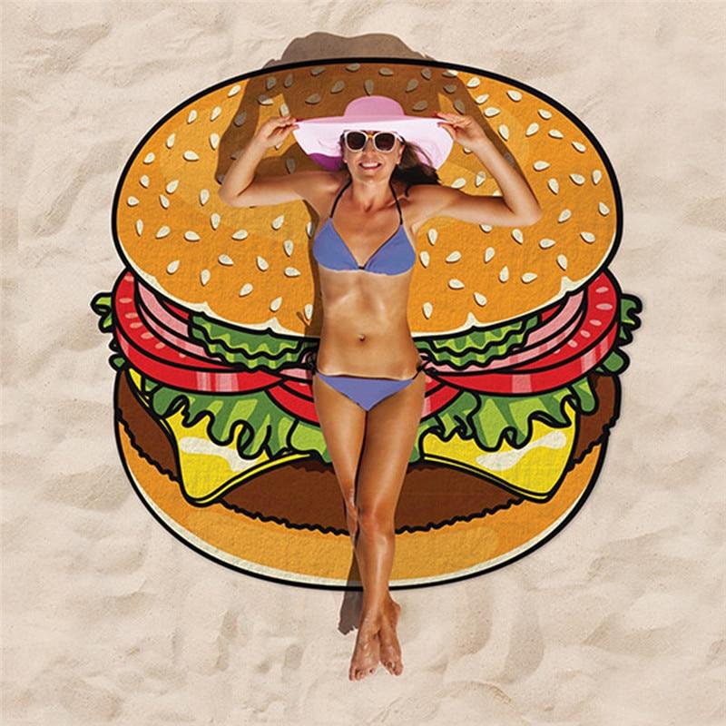 Beach Towel Printed Hamburger Food/Fruits/Ice Cream Patterns Large Jacquard Round Bath Towels Cute Shaped Beach Towel Summer