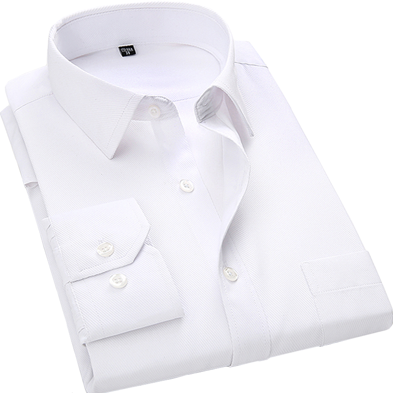 4XL 5XL 6XL 7XL 8XL Stort Stof Mænds Business Casual Langærmet Shirt Hvid Blå Sort Smart Mandlig Social Kjole Shirt Plus