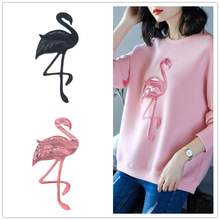 GODIER вышивка большой Фламинго журавль ткань значок вышивка патч бисер вышивка значок аксессуары для одежды