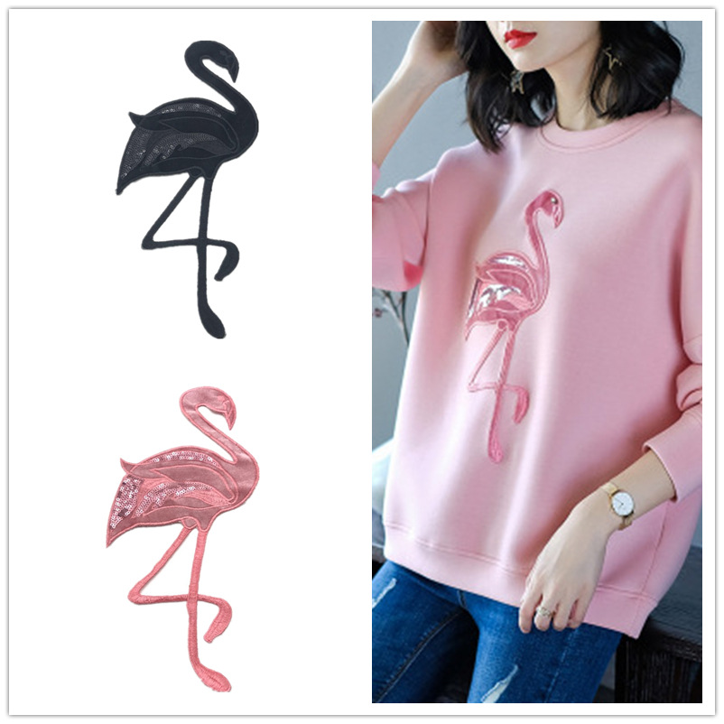 GODIER Embroidery Large Flamingo Crane Cloth Badge Embroidery Patch Bead Embroidery Badge Clothing Accessories