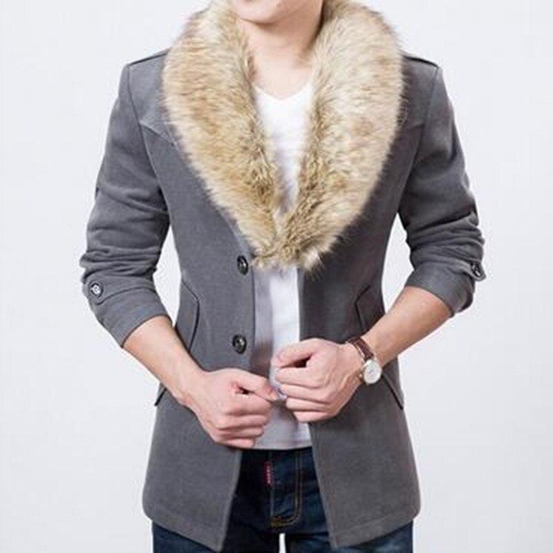 New Mens Faux Fur Coat Koran Causal Hooded Duffel Winter WARM parka Jacket Plus