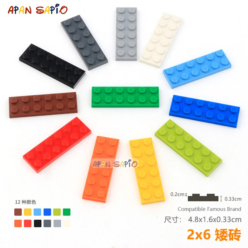 DIY Blocks Building Bricks Thin 2X6 10pcs/lot Educational Assemblage Construction Toys For Children Compatible With Brands