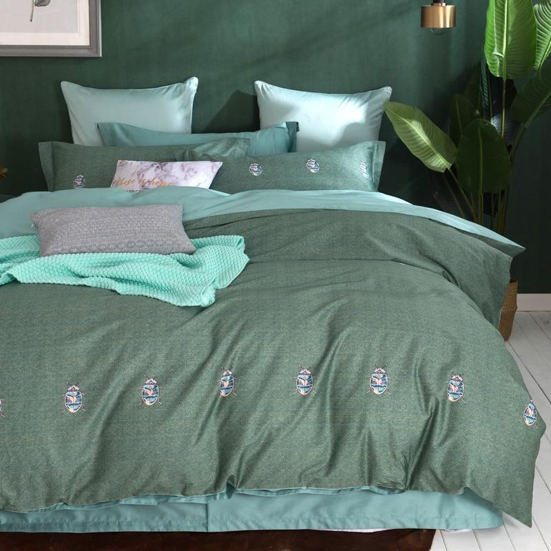 font b Cute b font Bugs Dark Green Bedding Set Queen King Size 4Pcs Egyptian