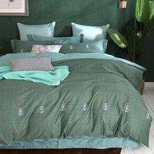 Cute Bugs Dark Green Bedding Set Queen King Size 4Pcs Egyptian Cotton Fabric Soft Bedlinens Flat Sheet Set Pillow Cases