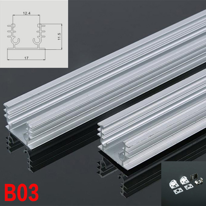 B03 10 Sets 100cm U Shape LED Strip Lights Aluminum Channel Profile  With End Caps and Mounting Clips for LED Bar Lights
