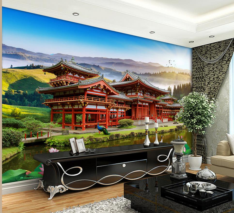 Home Decoration Living 3d Wallpaper Chinese Architecture Landscape Background Murals Decor