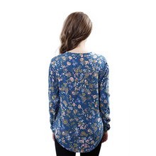 Fashion Women Elegant vintage Long Sleeve V-neck Floral Print Blouses OL Shirts Casual Women Blouse Tops