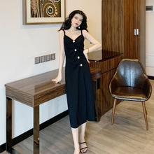 Sexy Women Maxi Dress Elegant Fashion V-neck Split Diamond Sling Long Dresses