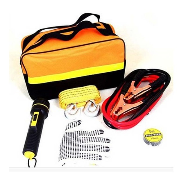 5PCS/Bag Car Emergency Kit Include Battery Cable Non-slip Gloves Insulating Tape Vehicle Traction Rope, Flashlight