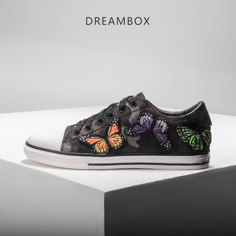 dreambox2017 Summer European and American trend casual butterfly embroidery with canvas shoes men's shoes dreambox 800 hd крайот