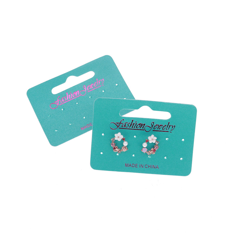 100pcs/lot Kraft Fashion Jewelry Earring Set Aqua Card Customize Logo Printing Vintage Classic Hang Tag Jewelry Displays image