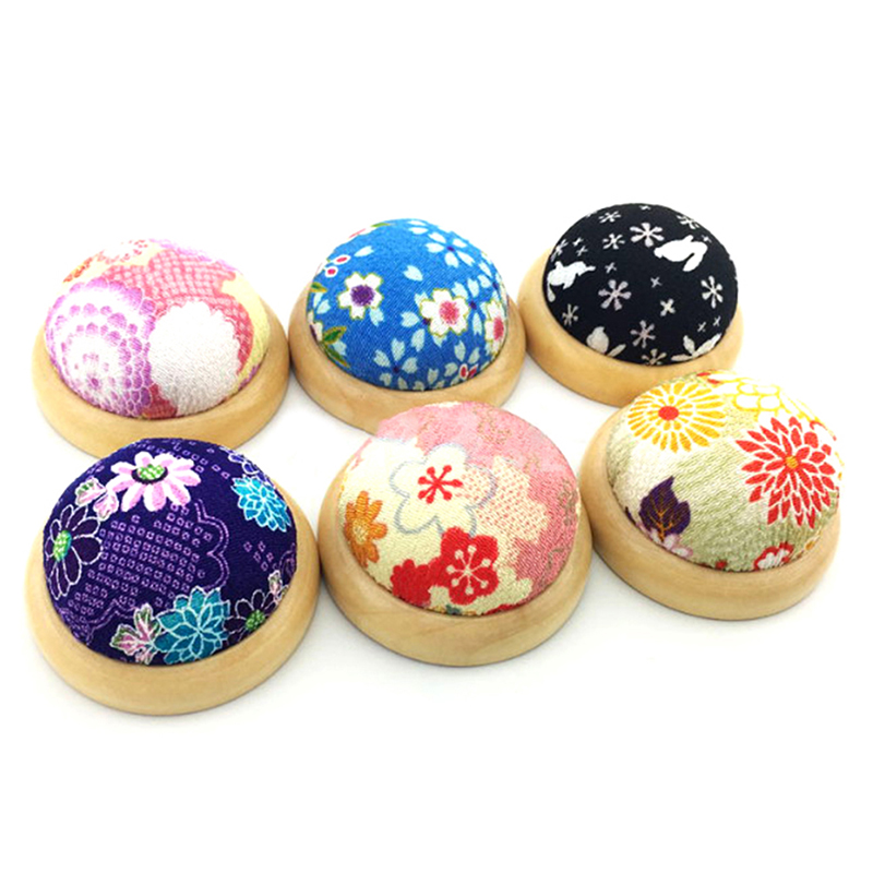 1pcs Ball Shaped DIY Craft Needle Pin Cushion Holder Sewing Stitch Needlework Wood Bottom Pin Cushions in Pins Pincushions from Home Garden