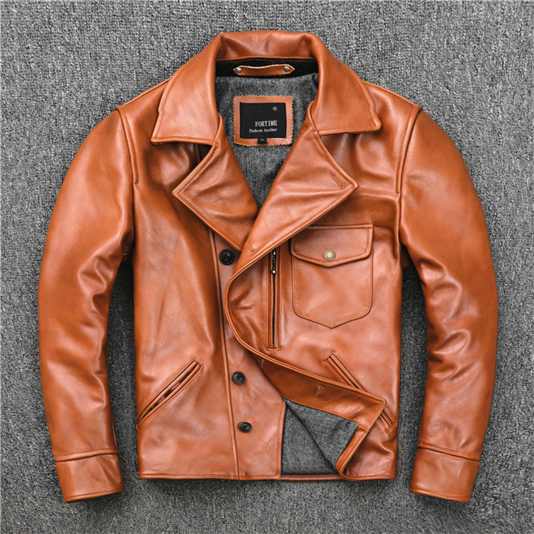 Free Shipping.Brand US Oil Wax Cowhide Biker Coat,mens Slim Genuine Leather Jacket,vintage Casual Style Jacket,fashion Sales