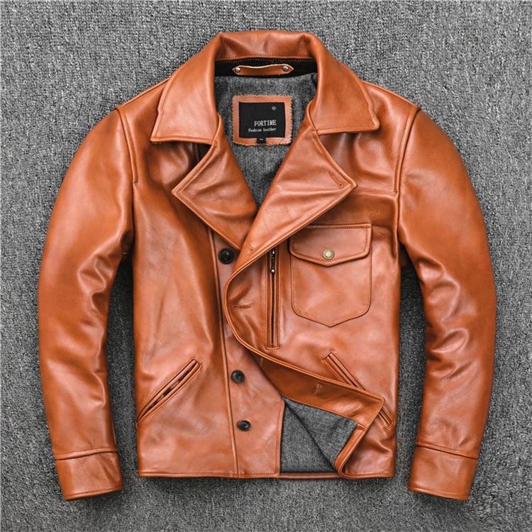 Free Shipping.Brand US Oil Wax Cowhide Biker Coat,mens Slim Genuine Leather Jacket,vintage Casual Style Jacket,fashion Sales