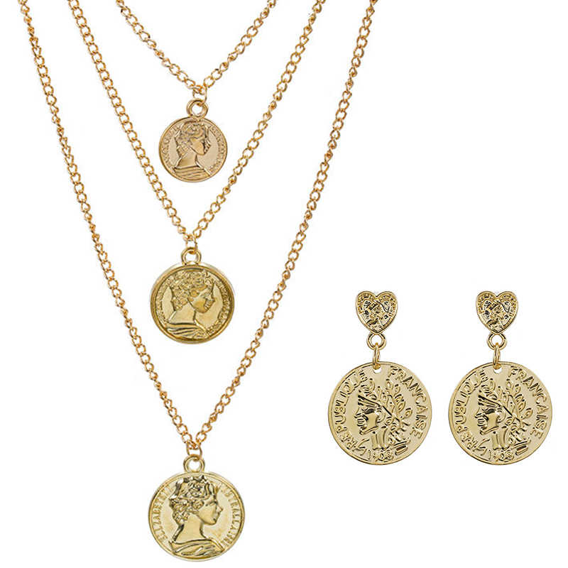 New Vintage Jewelry Sets Simple Charms Choker Necklace Women Rose Flower Angel Rune Coin Pendant Necklace Earrings Jewelry NE+EA