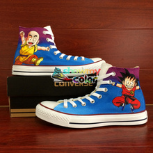 font b Converse b font Skateboarding Shoes Anime Dragon Ball Goku Krillin Hand Painted Canvas
