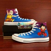 Converse Скейтбординг обувь аниме Dragon Ball Goku Krillin Ручная роспись холст кроссовки мужские Брендовые женские все звезды обуви