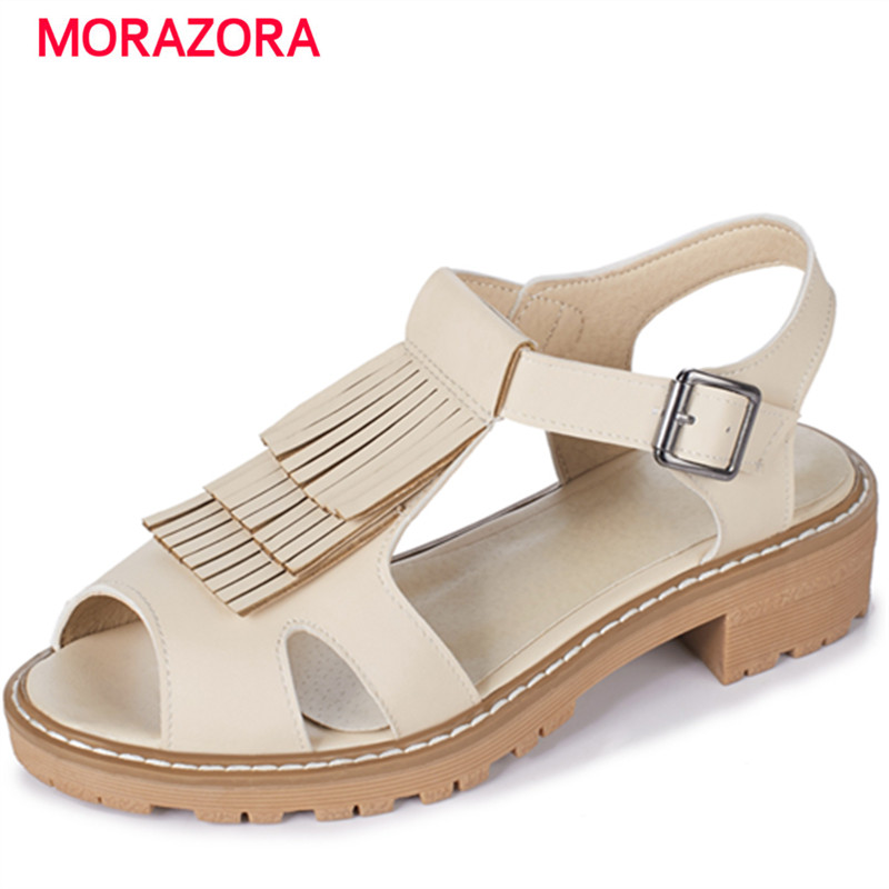 MORAZORA PU tassel buckle platform summer shoes fashion hot sale med heels shoes sandals women 4cm gladiator plus size 34-43