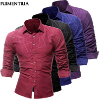 Puimentiua New Men Formal Shirts French Cuff Dress Shirts Solid Fashion Cufflinks Premium Casual Long Sleeve Slim Fit Shirt Tops