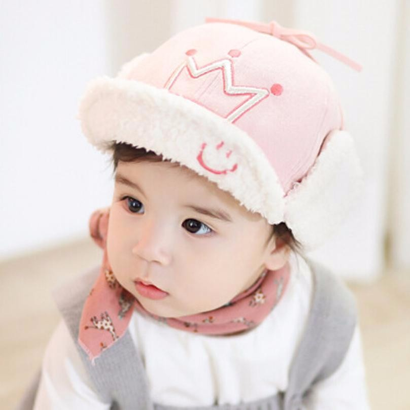MUQGEW Winter Infant Baby Costumes New Baby Smile Face Warm Cotton Thicken Velvet Beanie Cap Bone Infantil Z06