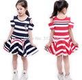 [Bosudhsou.] s1# Kids' world children clothing summer girl dress striped dress Girls cotton vest princess dress